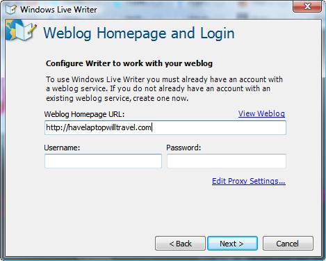 Windows Live Writer Login Screen
