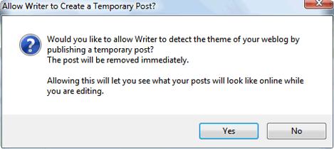 Windows Live Writer Theme Detection