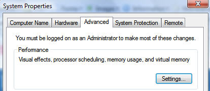 Windows Vista System Properties